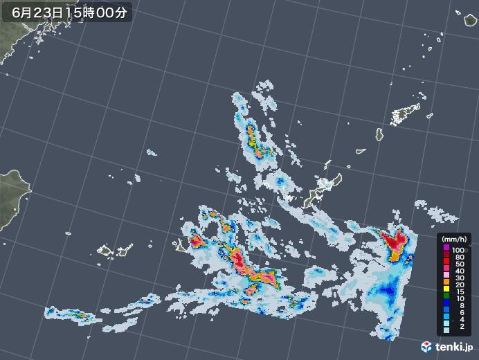 沖縄地方の雨雲レーダー(2020年06月23日)