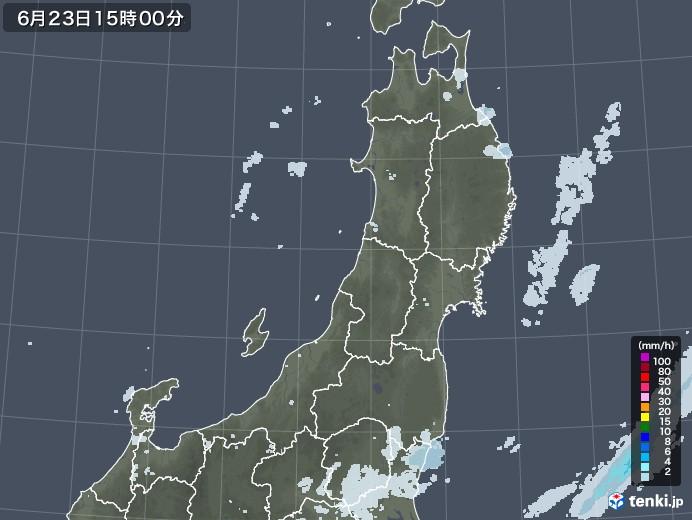 東北地方の雨雲レーダー(2020年06月23日)