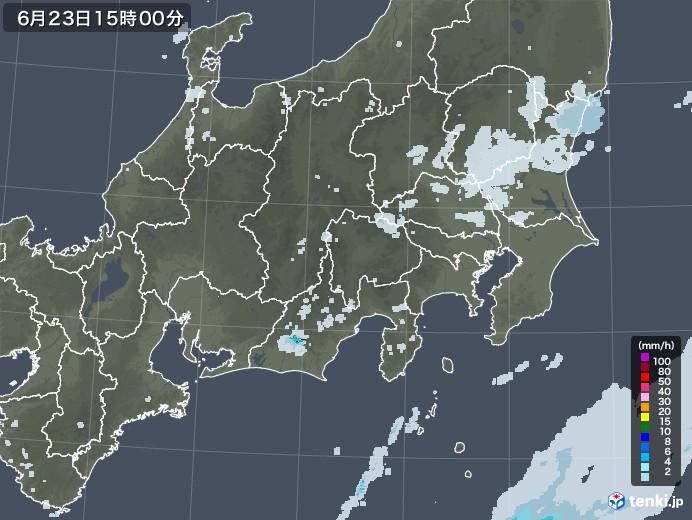 関東・甲信地方の雨雲レーダー(2020年06月23日)