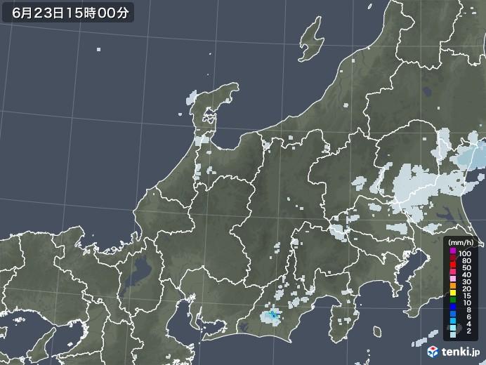 北陸地方の雨雲レーダー(2020年06月23日)