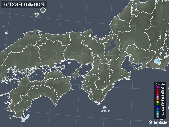 近畿地方の雨雲レーダー(2020年06月23日)