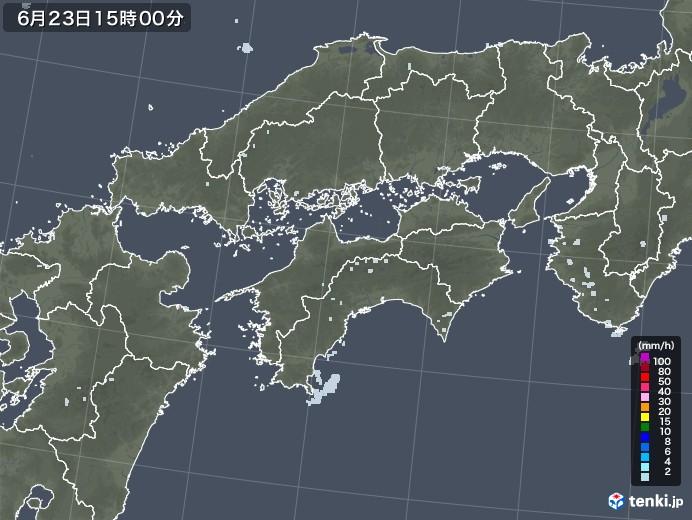 四国地方の雨雲レーダー(2020年06月23日)
