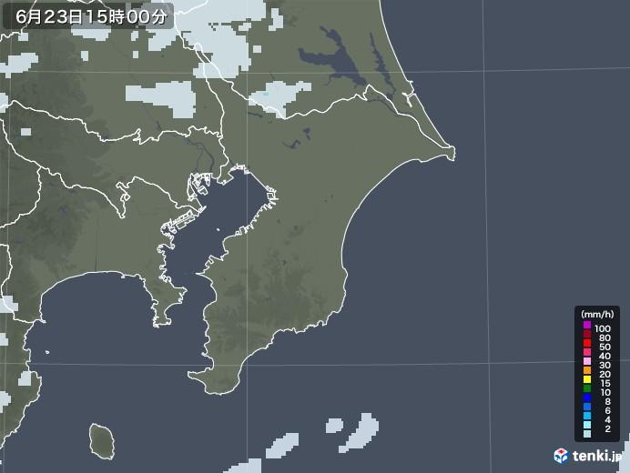 千葉県の雨雲レーダー(2020年06月23日)