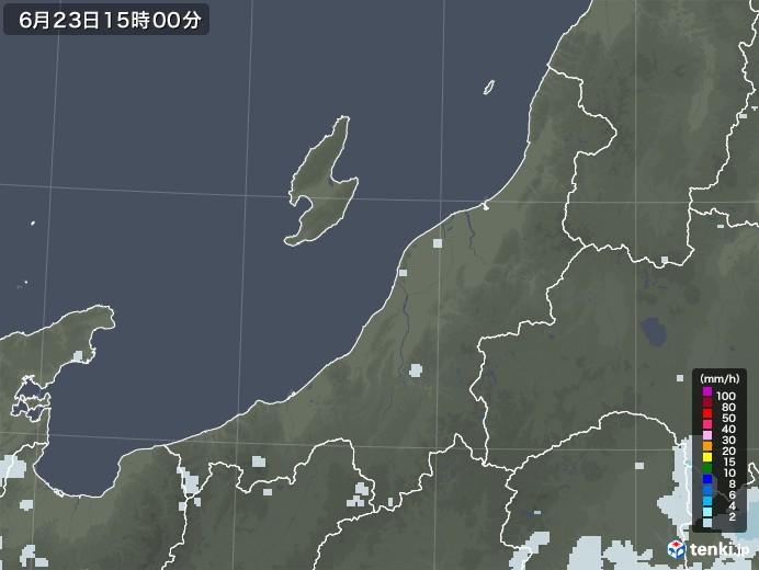 新潟県の雨雲レーダー(2020年06月23日)