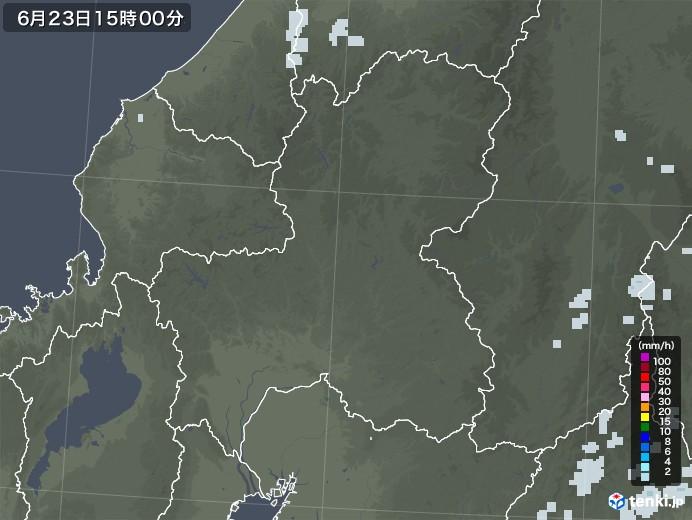 岐阜県の雨雲レーダー(2020年06月23日)