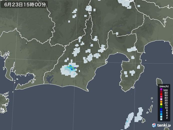 静岡県の雨雲レーダー(2020年06月23日)