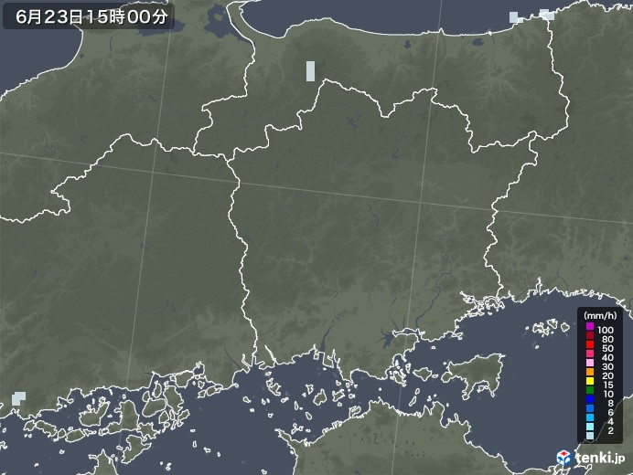 岡山県の雨雲レーダー(2020年06月23日)