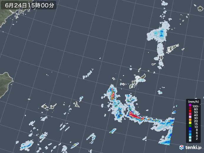 沖縄地方の雨雲レーダー(2020年06月24日)