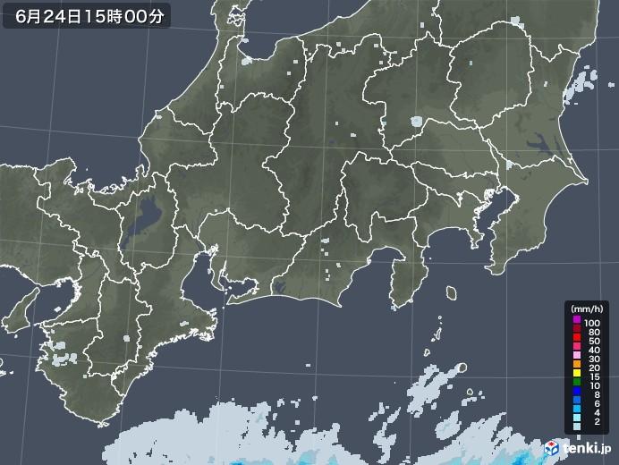 東海地方の雨雲レーダー(2020年06月24日)