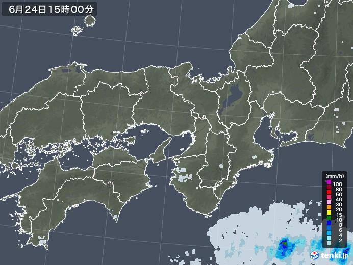 近畿地方の雨雲レーダー(2020年06月24日)