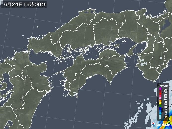 四国地方の雨雲レーダー(2020年06月24日)