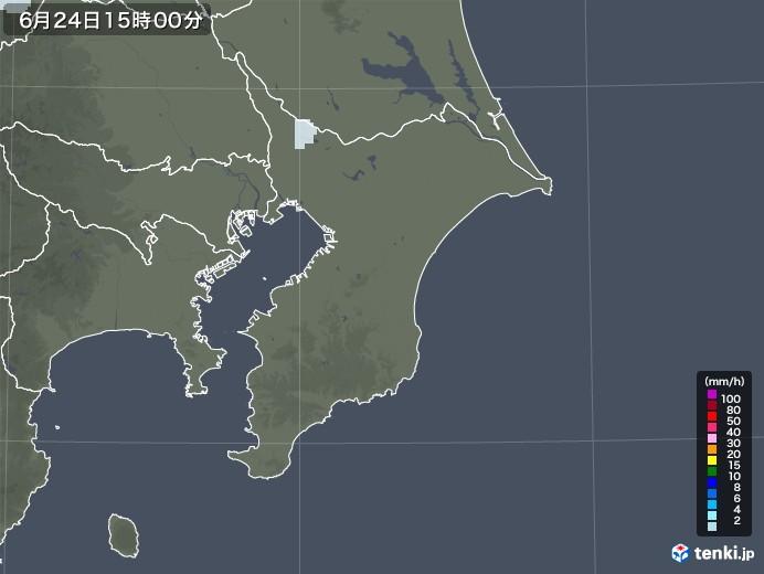 千葉県の雨雲レーダー(2020年06月24日)