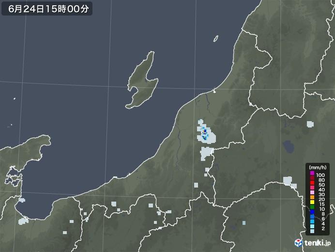 新潟県の雨雲レーダー(2020年06月24日)