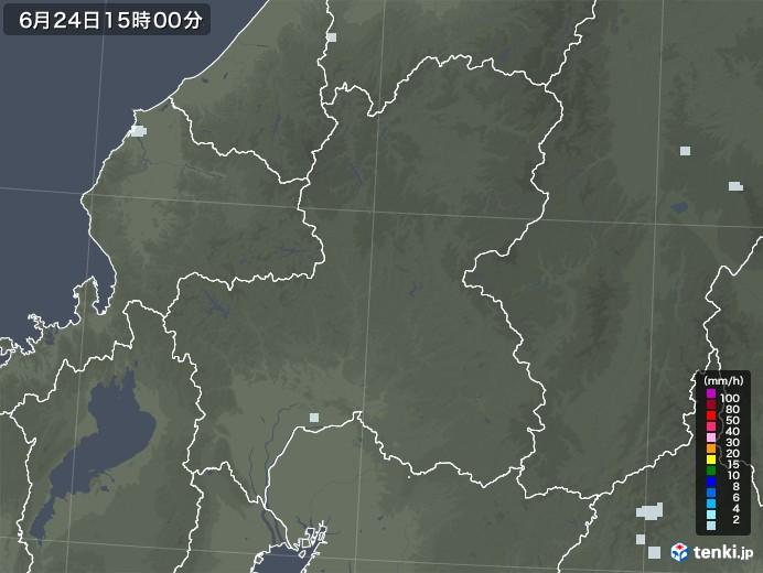 岐阜県の雨雲レーダー(2020年06月24日)