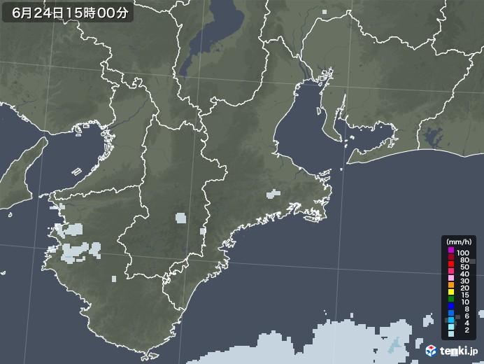 三重県の雨雲レーダー(2020年06月24日)