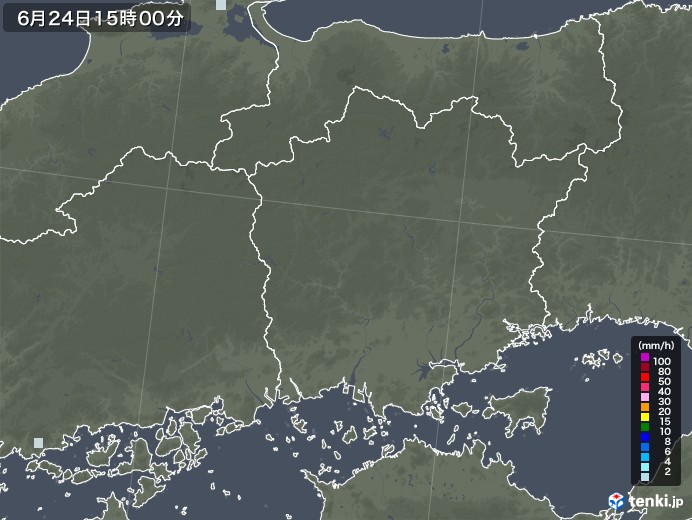 岡山県の雨雲レーダー(2020年06月24日)