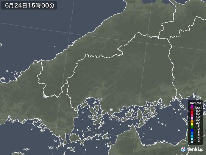 広島県の雨雲レーダー(2020年06月24日)