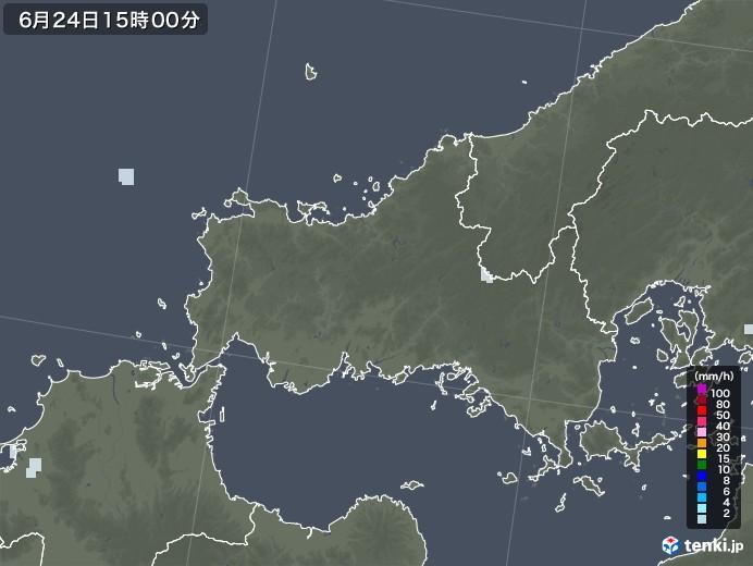 山口県の雨雲レーダー(2020年06月24日)