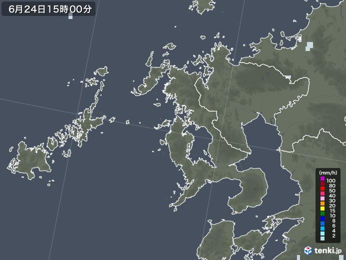 長崎県の雨雲レーダー(2020年06月24日)