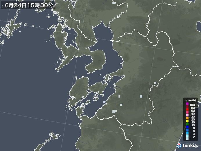 熊本県の雨雲レーダー(2020年06月24日)