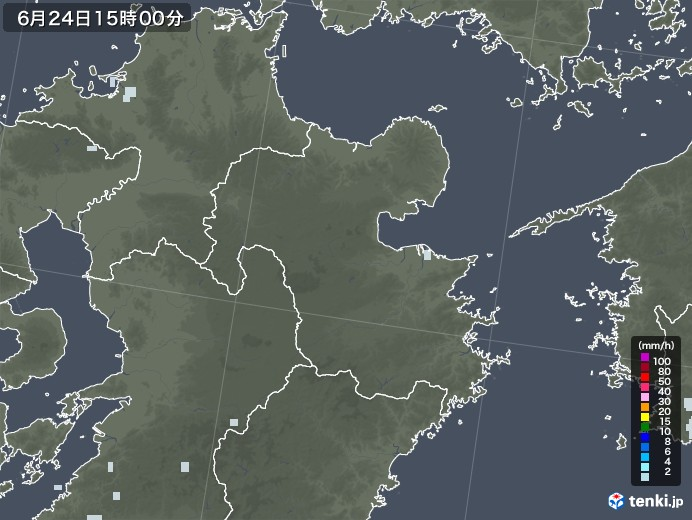 大分県の雨雲レーダー(2020年06月24日)