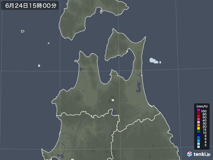 青森県の雨雲レーダー(2020年06月24日)