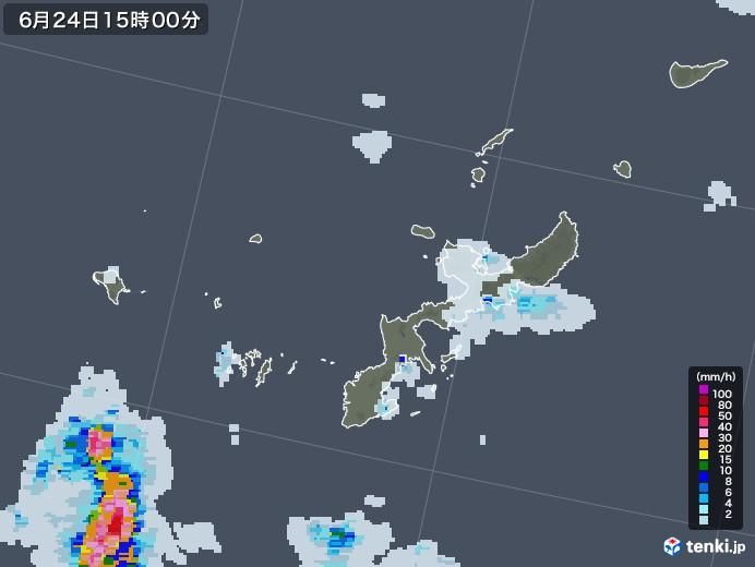 沖縄県の雨雲レーダー(2020年06月24日)