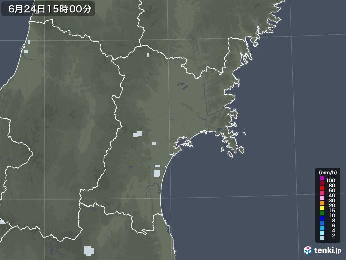 宮城県の雨雲レーダー(2020年06月24日)