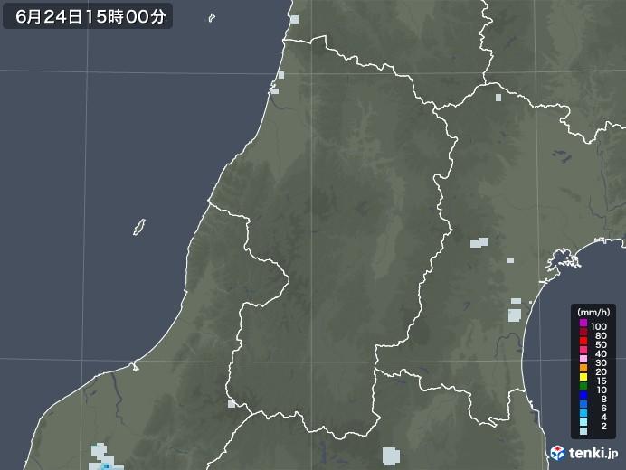 山形県の雨雲レーダー(2020年06月24日)