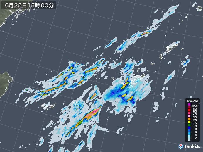 沖縄地方の雨雲レーダー(2020年06月25日)