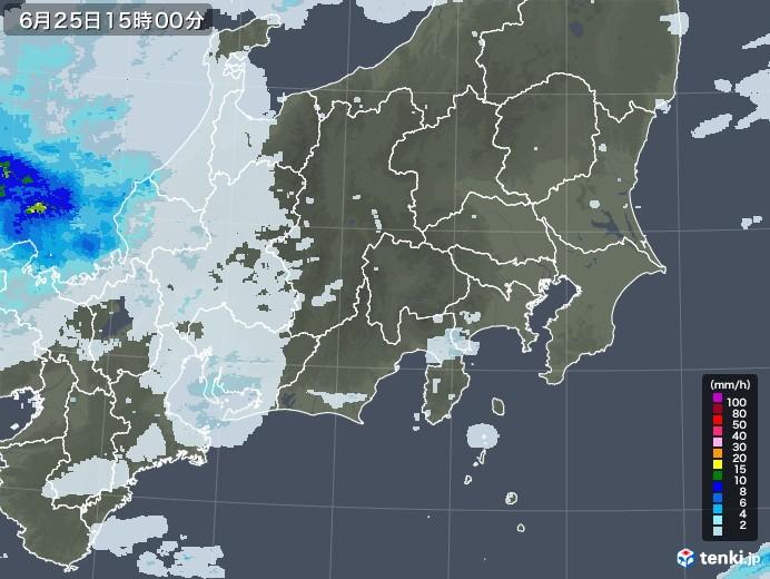 関東・甲信地方の雨雲レーダー(2020年06月25日)