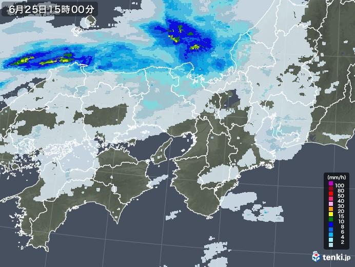 近畿地方の雨雲レーダー(2020年06月25日)