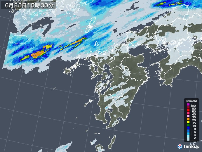 九州地方の雨雲レーダー(2020年06月25日)