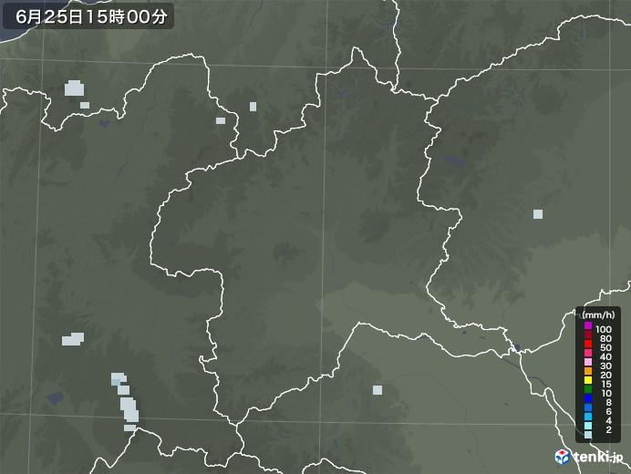 群馬県の雨雲レーダー(2020年06月25日)
