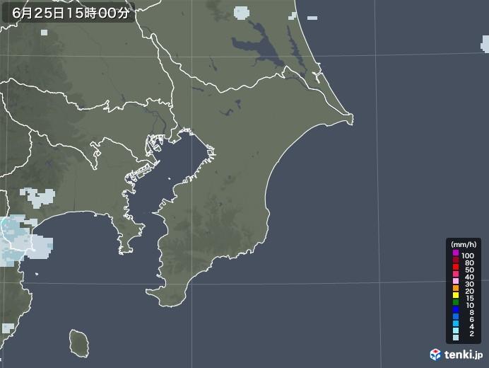千葉県の雨雲レーダー(2020年06月25日)