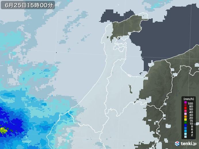石川県の雨雲レーダー(2020年06月25日)