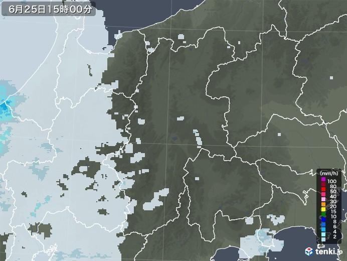 長野県の雨雲レーダー(2020年06月25日)
