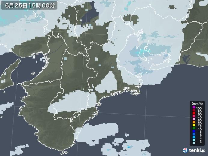 三重県の雨雲レーダー(2020年06月25日)