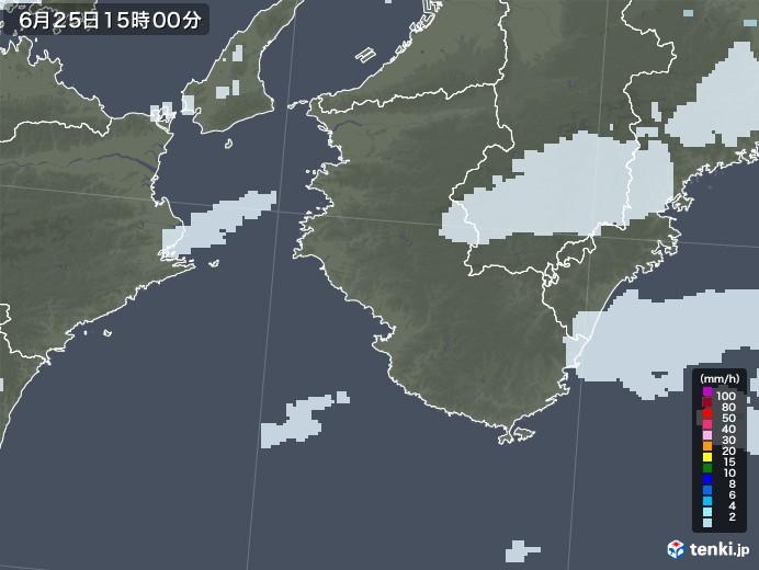 和歌山県の雨雲レーダー(2020年06月25日)