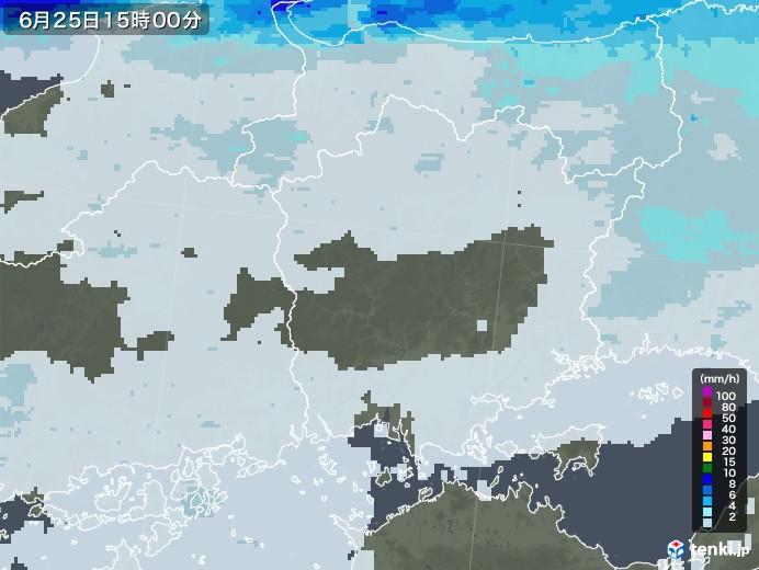 岡山県の雨雲レーダー(2020年06月25日)
