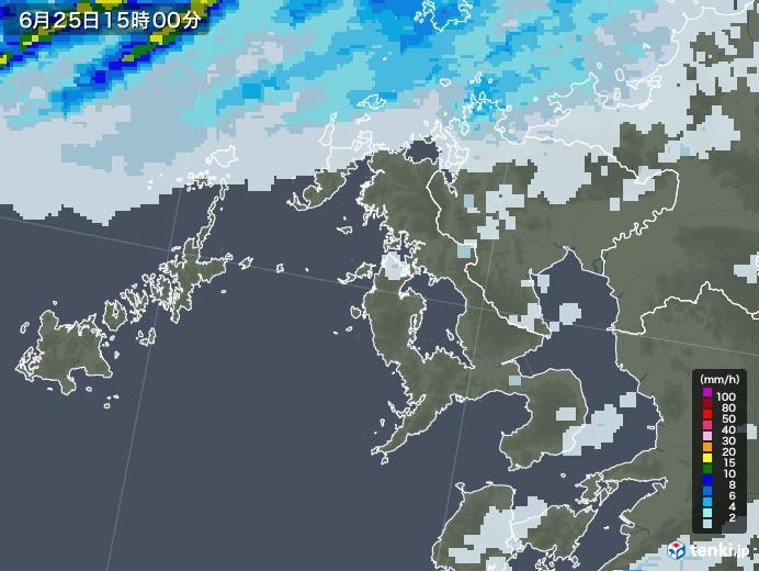 長崎県の雨雲レーダー(2020年06月25日)