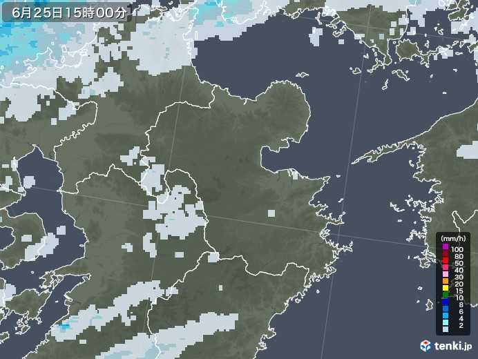 大分県の雨雲レーダー(2020年06月25日)