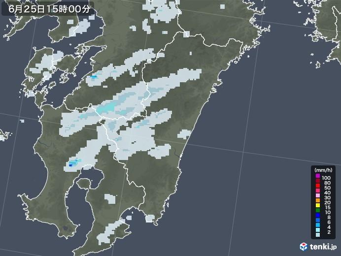 宮崎県の雨雲レーダー(2020年06月25日)