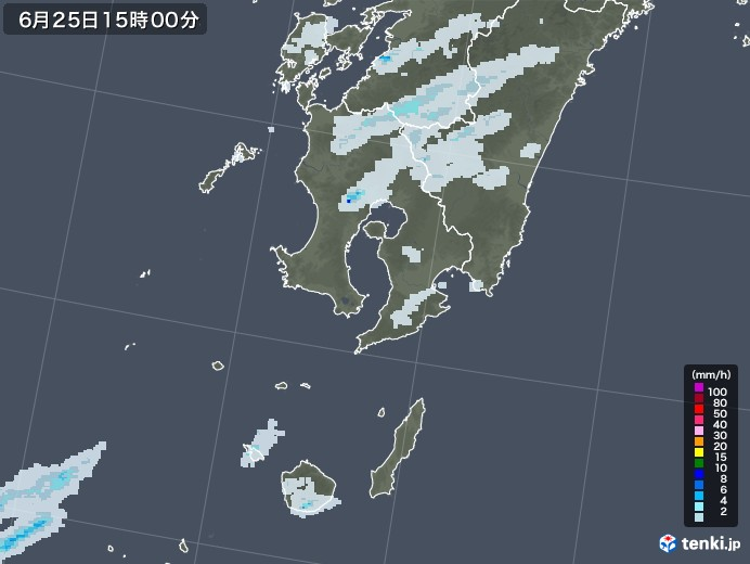 鹿児島県の雨雲レーダー(2020年06月25日)
