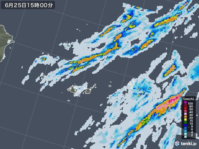 宮古島・石垣・与那国(沖縄県)の雨雲レーダー(2020年06月25日)
