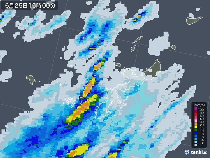 沖縄県の雨雲レーダー(2020年06月25日)