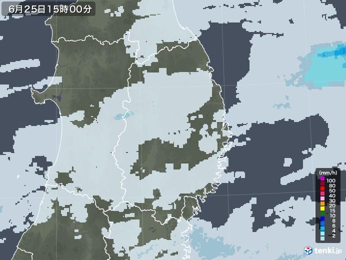 岩手県の雨雲レーダー(2020年06月25日)