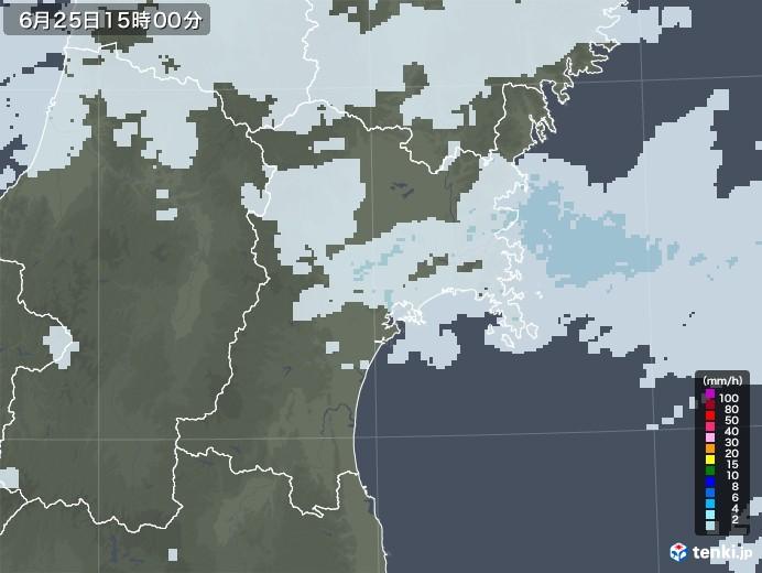 宮城県の雨雲レーダー(2020年06月25日)