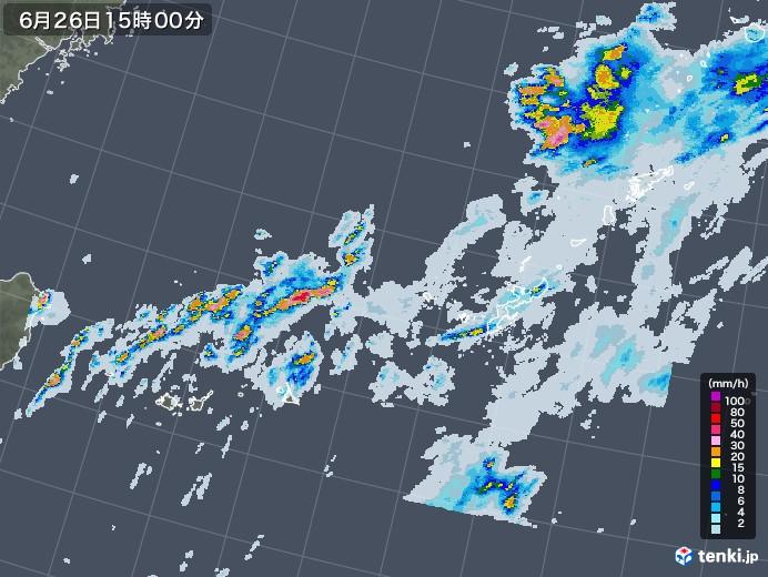 沖縄地方の雨雲レーダー(2020年06月26日)