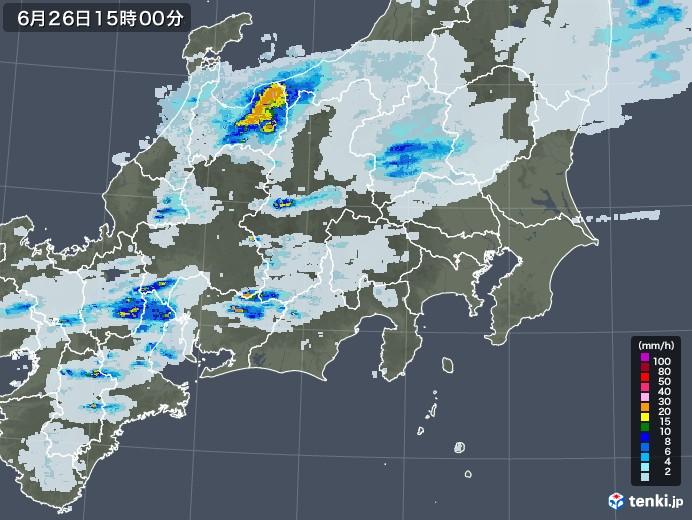 関東・甲信地方の雨雲レーダー(2020年06月26日)